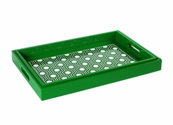 Set of 2 Sasoon Lacquered Nesting Trays  in Green
