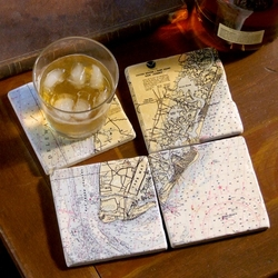 Set of 4 Mural Style Coasters - Customize Your Location