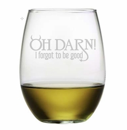 Set of 4 Stemless Wine Glasses - Oh Darn