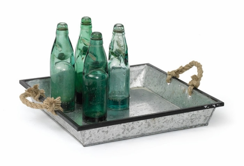 Set of Tin Trays with Rope Handles