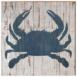 Shabby Chic Blue Crab Beach Wall Art <font color=a8bb35> NEW</font>
