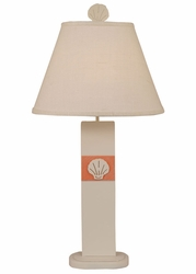 Shell Panel Table Lamp with Orange Accent