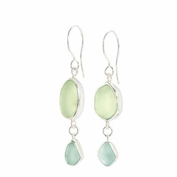 Double Loop Sea Glass Earrings