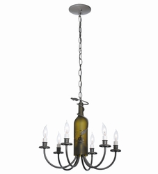 Six Light Wine Bottle Chandelier
