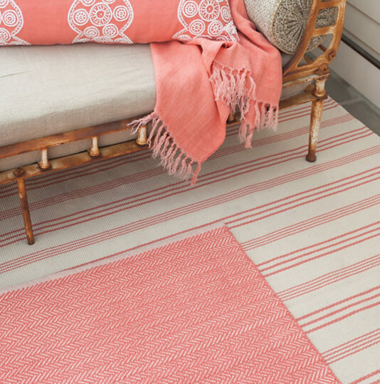 Dash and albert skona stripe woven cotton rug for sale for Dash and albert blanket