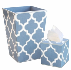 Blue Quatrefoil Bath Set<font color=cf2317> Discontinued</font>