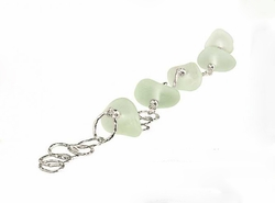 Slender Curve Link Bead Sea Glass Bracelet
