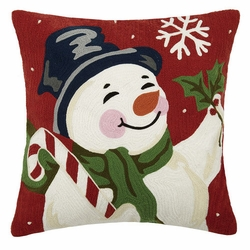 Snowman with Candy Cane Crewel Embroidered Pillow