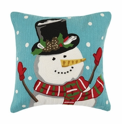Snowman with Holly Crewel Pillow