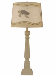 Square Buffet Lamp with Turtle Shade