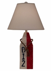 Square Buoy Pot Table Lamp with Rope Accent