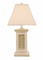 Square Shutter Pot Lamp in Green/Ivory