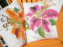 Stargazer Lily Outdoor Pillow