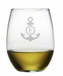 Stemless Wine Glass with Monogram Anchor Set of 4