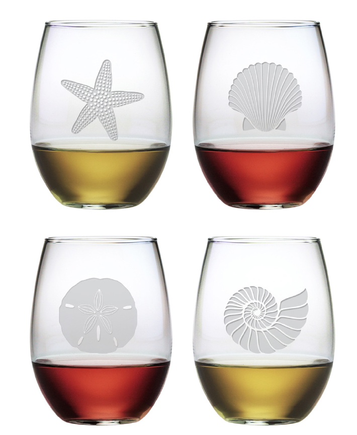 Stemless Wine Gles Seas Set Of 4 For Cottage Bungalow