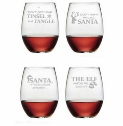 Stemless Wine Glasses Set of 4 - Holiday Hijinks