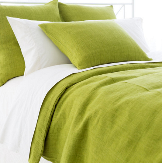 Pine Cone Hill Stone Washed Linen Green Duvet Cover