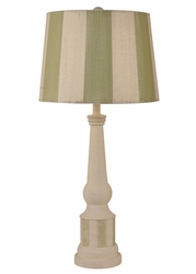 Striped Pedestal Table Lamp with Seagrass Accent