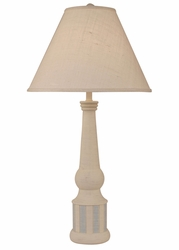 Striped Pedestal Table Lamp in Cottage/Seaside Blue
