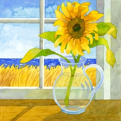 Sunflower in the Window Beach Print