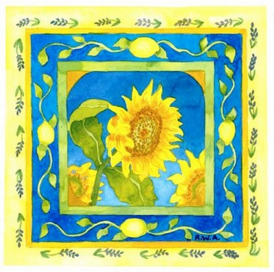 Sunflowers and Lemons in Provence Beach Print
