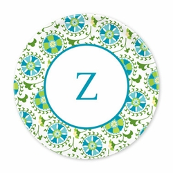 Suzani Teal Plates - Set of Four