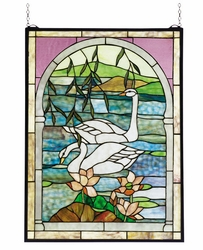 Swans Stained Glass Window