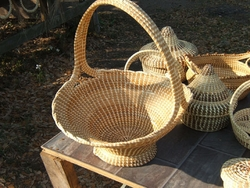 Sweetgrass Big Handle Basket <font color=a8bb35> Discontinued</font>