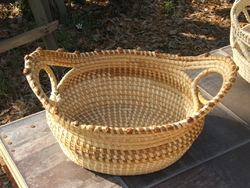 Sweetgrass Loop Basket with Love Knots <font color=a8bb35> Discontinued</font>
