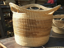 Sweetgrass Tall Basket with Loops <font color=a8bb35> Discontinued</font>