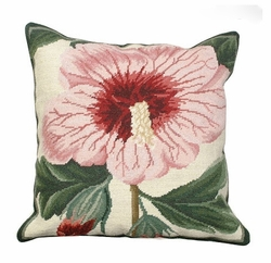 Syrian Hibiscus Needlepoint Pillow