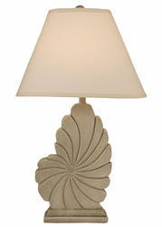 Tall Nautical Shell Table Lamp in Sea Stone