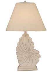 Tall Nautical Shell Table Lamp in Ivory