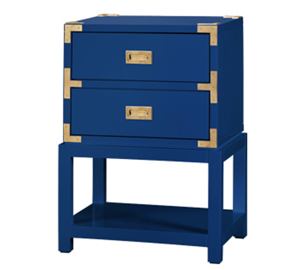 tansu two drawer side table in high gloss blue for sale cottage bungalow. Black Bedroom Furniture Sets. Home Design Ideas