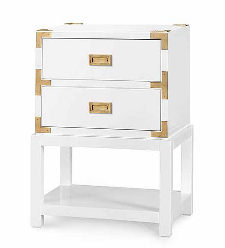 Tansu Two Drawer Side Table In High Gloss White For Sale   Cottage U0026  Bungalow