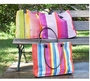 Dash and Albert Thyme Ticking Woven Cotton Tote Bag<font color=a8bb35> 15% OFF</font>