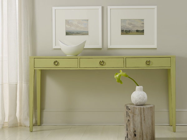 Transitional Three Drawer Console For Sale Cottage