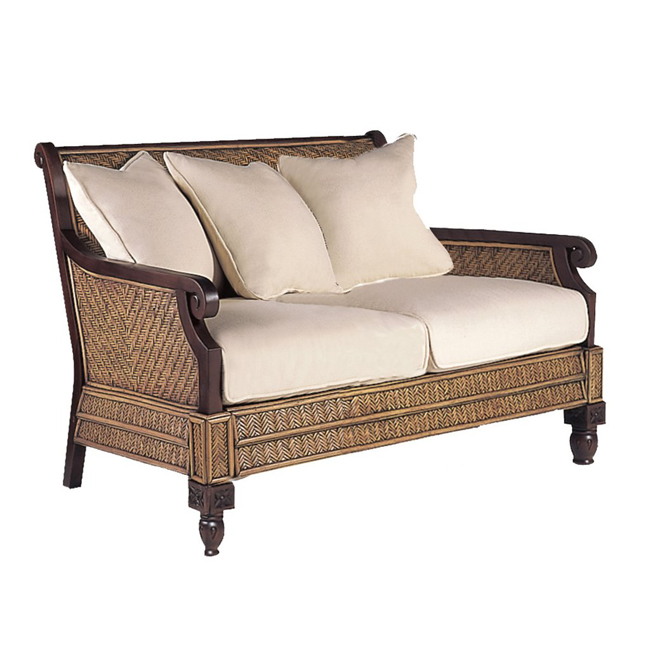 Trinidad woven rattan loveseat cottage bungalow for Living room furniture trinidad