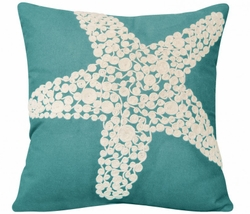 Turquoise Crewel Rope Knotted Starfish Indoor Pillow