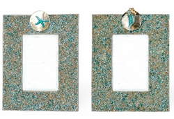 Turquoise Jeweled Sparkle 4 x 6  Frame with Seahorse or Starfish