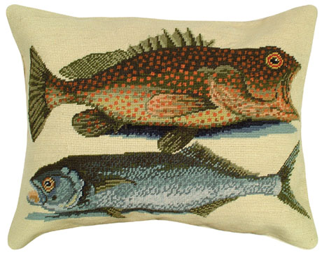 Two Fish Needlepoint Pillow Licensed By Colonial