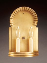 Two Lite Wall Sconce with Crimp Top