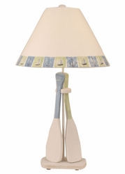Two-Paddle Table Lamp in Blue and Green