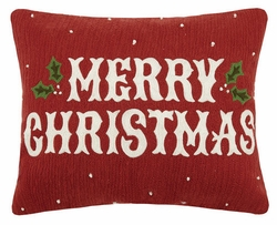Vintge Merry Christmas Crewel Holiday Pillow