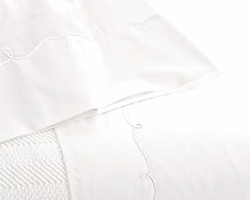 Embroidered Hem White/White Sheet Set