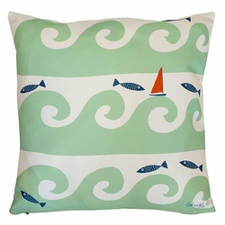 Wild Waves in Light Green Pillow