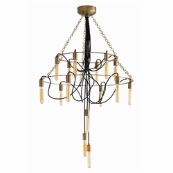 Winston 15L Vintage Brass Black Fabric Cord Chandelier