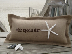 Wish Upon A Star Coastal Phrase Pillow