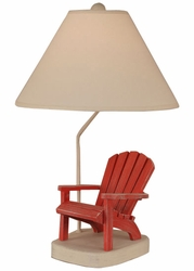 Red Wooden Adirondack Chair Table Lamp