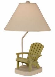 Wooden Adirondack Chair Table Lamp in Green